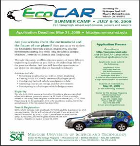 Click on Brochure to Register for EcoCAR Camp