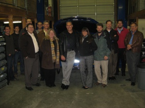 rs from Virginia Tech, Mississippi State, Penn State and University of Victoria visit the UVic EcoCAR garage for a tour